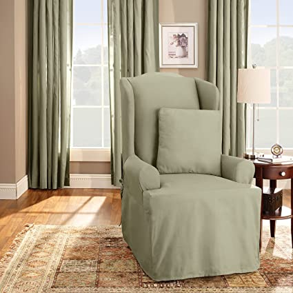 Superb Cotton Duck Wing Chair T Cushion Slipcover Color Sage Machost Co Dining Chair Design Ideas Machostcouk