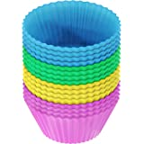 Vremi Nonstick Silicone Baking Cups - 24 Pack Multicolour & BPA Free Round Cake Molds for Cupcakes and Muffin - Reusable Standard Sized Cupcake Liners in Pink Yellow Blue and Green Rainbow Bake Cups