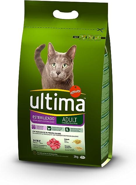 Ultima Pienso para gatos esterilizados adultos, con buey - 3 kg ...