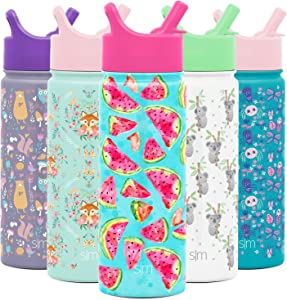Simple Modern 18oz Summit Kids Water Bottle Thermos with Straw Lid - Dishwasher Safe Vacuum Insulated Double Wall Tumbler Travel Cup 18/8 Stainless Steel Watermelon Splash