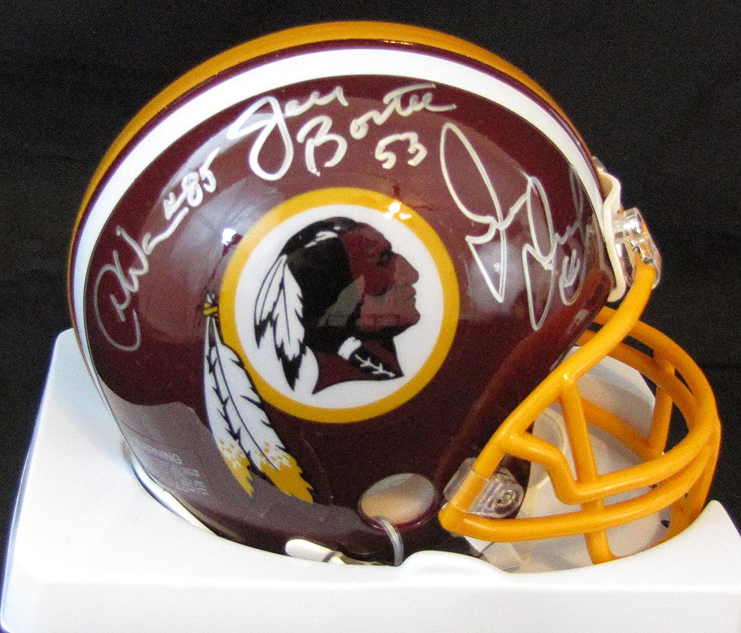 Joe Jacoby, Jeff Bostic & Donnie Warren 3 Time Super Bowl Champion Hogs Signed Washington Redskins Mini Helmets Riddell
