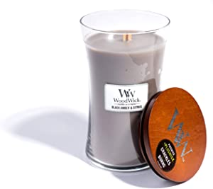 WoodWick Black Amber & Citrus, Highly Scented Candle, Classic Hourglass Jar with Lid, Large 7 Inches, 21.5 OZ