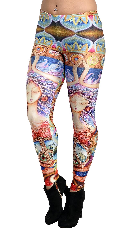 Amazon Badassleggings Womens Lotus Flower Leggings Medium