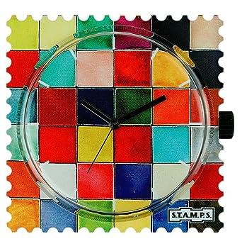 S.T.A.M.P.S. Stamps Reloj Glazed Tile 100314 Negra manecillas nuevo: Amazon.es: Relojes