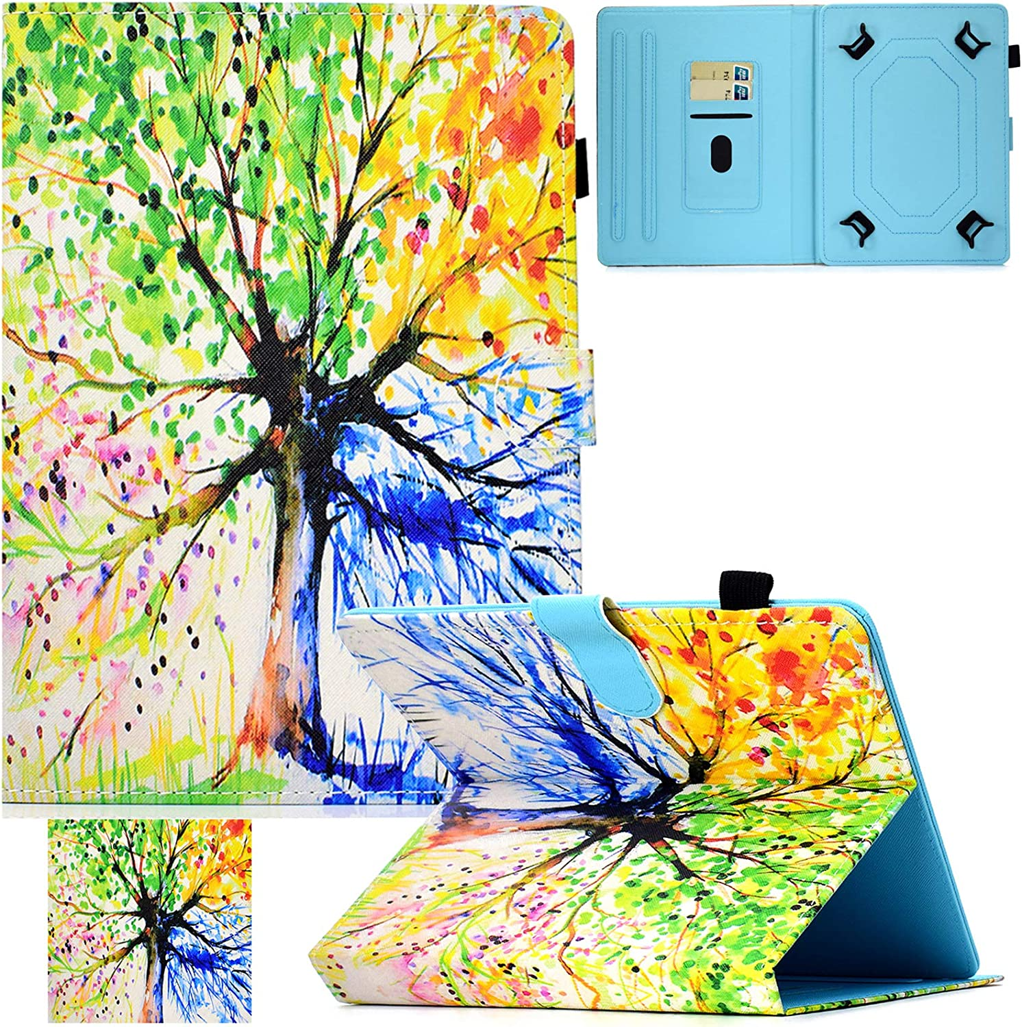 Artyond Universal 10.0 Tablet Case, PU Leather Folio Stand Card Slot Case for iPad 9.7 2018 2017/ iPad Air 1 2/ Galaxy Tab A 10.1/ Tab E 9.6/ Fire HD 10/ and More 9.0-10.5 inch Tablet (Colorful)