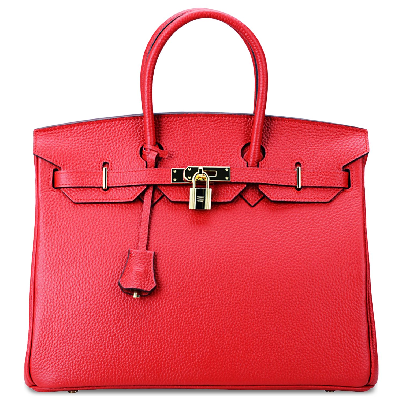 SanMario Designer Handbag Top Handle Padlock Women's Leather Bag with Golden Hardware Red 35cm/14'' by SanMario (Image #2)