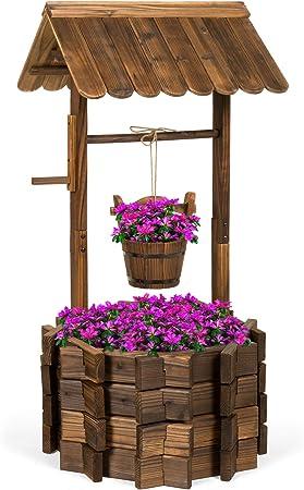 Mejor elección productos de madera Wishing Well cubo macetero (altura de patio jardín al aire libre hogar decoración: Amazon.es: Jardín