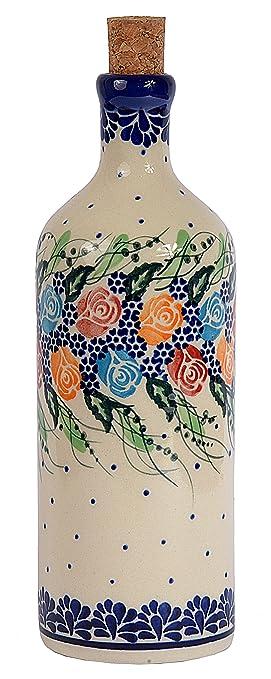 Tradicional polaco Pottery, de cerámica artesanal botella de aceite O vinagre 500 ml, Boleslawiec