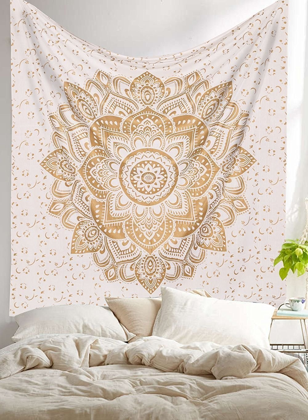Madhu International New Launched Twin White Gold Ombre Mandala Tapestry By, Boho Mandala Tapestry, Twin Wall Hanging, Gypsy Tapestry, Mandala Wall Tapestries