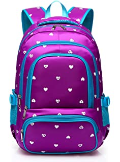 cdd378a2d2 Hearts Print School Backpacks For Girls Kids Elementary School Bags Bookbag