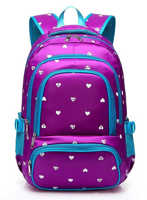 Fashion Girls Backpack for Kids Elementary School Bag Girly Bookbag  Children 17 Inch Nylon Heart Print (Purple   Blue)  Amazon.in  Bags a9cfcff5131bd