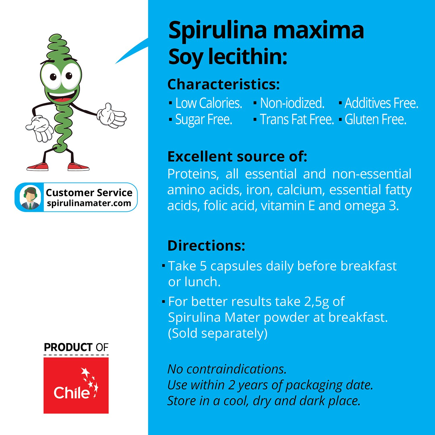 Amazon.com: Spirulina Capsules + Vitamin C 500 mg 150 Ct by SPIRULINA Mater - Blue Green Algae Superfood - High Protein Supplement - Organic, Vegan, ...