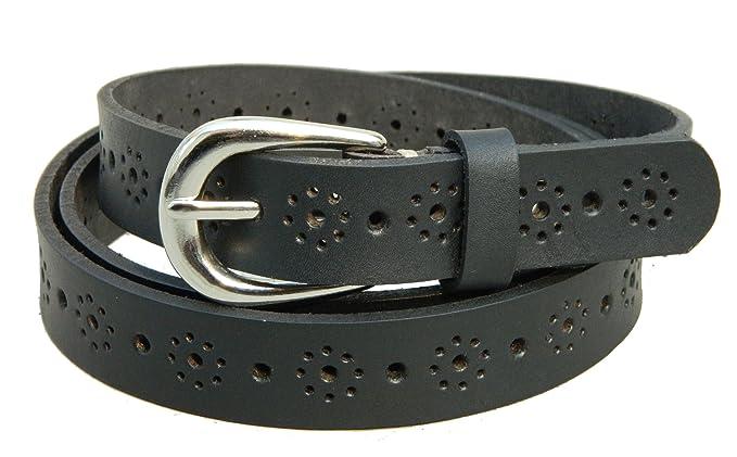7cdbaa698e4 Herte Genuine Leather Ladies Belt 24mm Wide floral Pattern Black Woman Belt   Amazon.co.uk  Clothing