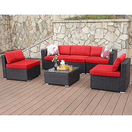 60f657a1101e Amazon.com : PHI VILLA Outdoor Rattan Sectional Sofa- Patio Wicker Furniture  Set (6-Piece 2) : Garden & Outdoor