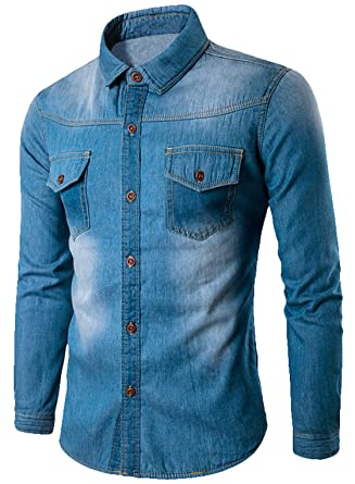 e3f5ece50e Youhan Men s Vintage Fitted Long Sleeve Denim Shirt at Amazon Men s ...