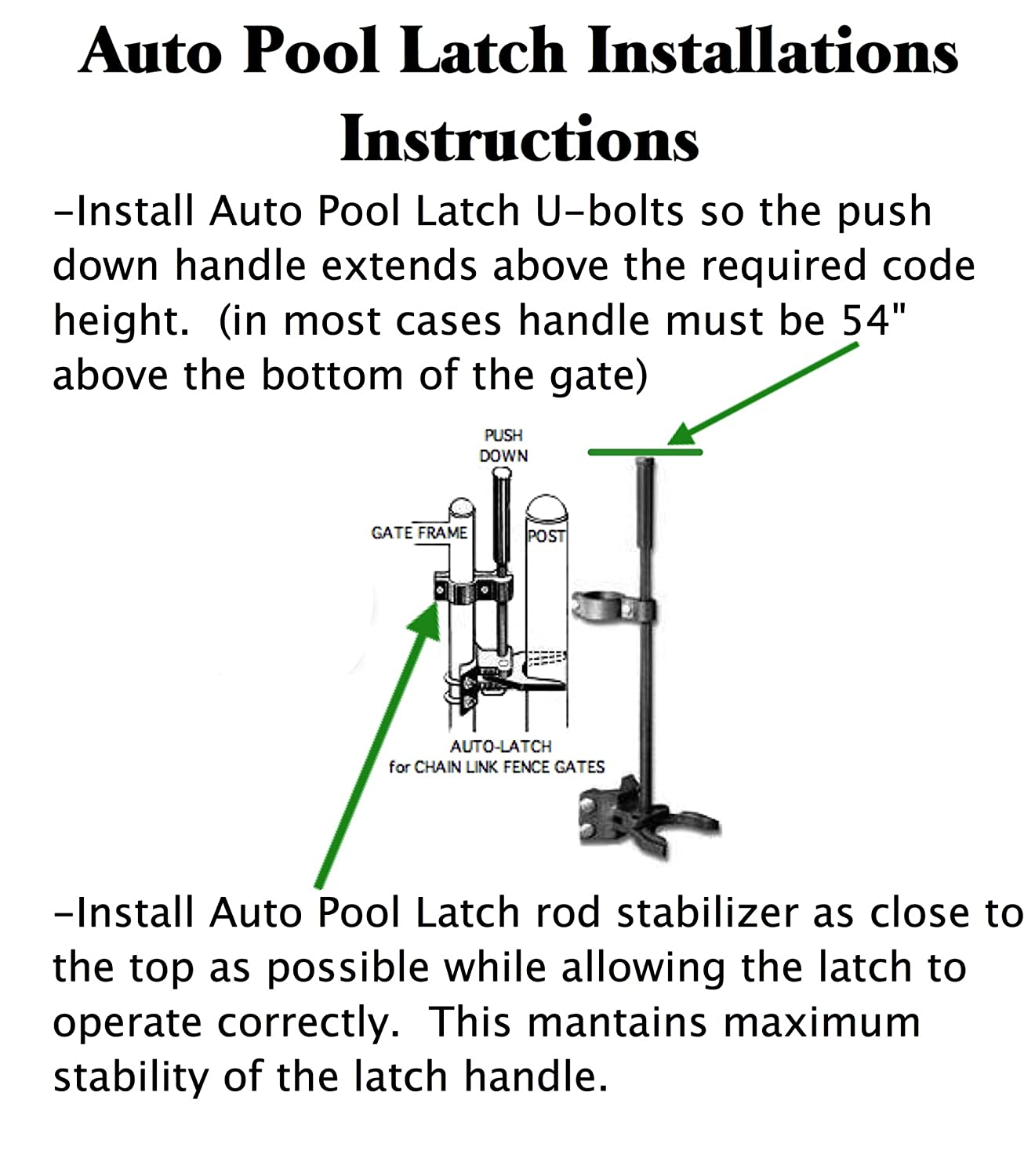 Pool Gate Latch Chain Link Child Safety 1 3 Door Knob Diagram See The Below 8 X 2 Push Style For Frames