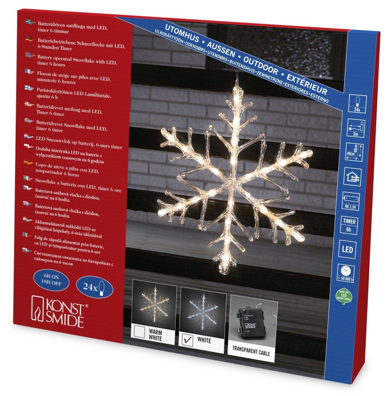 Konstsmide 4540-103 LED Acrylsilhouette'Schneeflocke' / fü r Auß en (IP44) / Batteriebetrieben: 4xAA 1.5V (exkl.) / mit 6h Timer / 24 warm weiß e Diode/transparentes Kabel