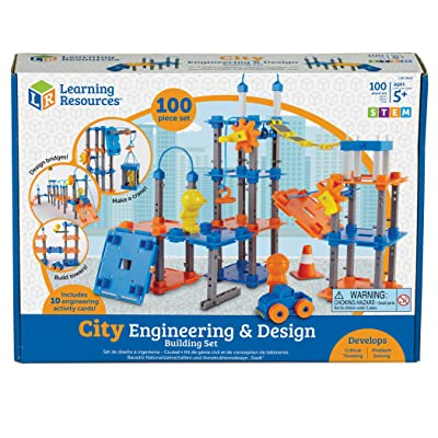 Learning Resources City Engineering and Design Building Set, Engineer STEM Toy, 100 Pieces, Ages 5+: Toys & Games