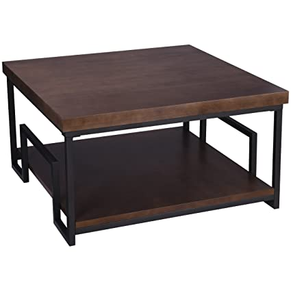 Amazon.com: Rustic Metal and Wooden Large Square Coffee Sofa ...
