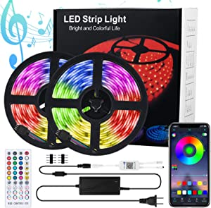LED Strip Lights Music Sync 32.8Ft. Bluetooth - Waterproof Color Changing Light Strip with IR Remote & APP Control 5050 SMD RGB - 300 LED Tape Lights for Bedroom Bar Party Christmas Decor