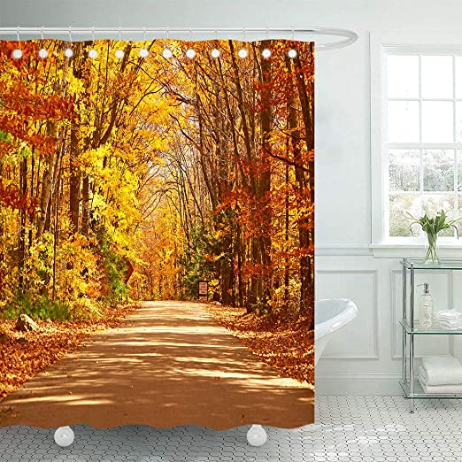 1 Pc Waterproof Autumn-Yellow-Leaf Shower Curtain for Home and Bathroom