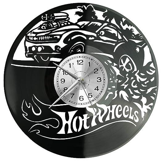 WoD Hot-Wheels - Reloj de Pared de Vinilo, Estilo Retro ...
