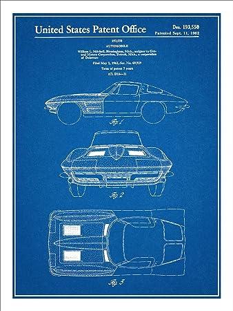 Amazon 1963 corvette stingray patent print art poster unframed 1963 corvette stingray patent print art poster unframed blueprint 18quot malvernweather Gallery