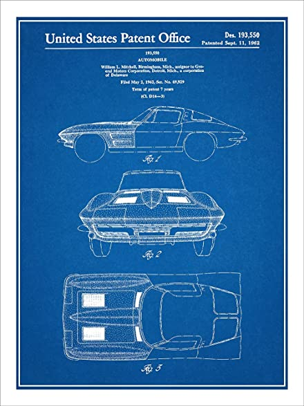 Amazon 1963 corvette stingray patent print art poster 1963 corvette stingray patent print art poster unframed blueprint 18quot malvernweather Images