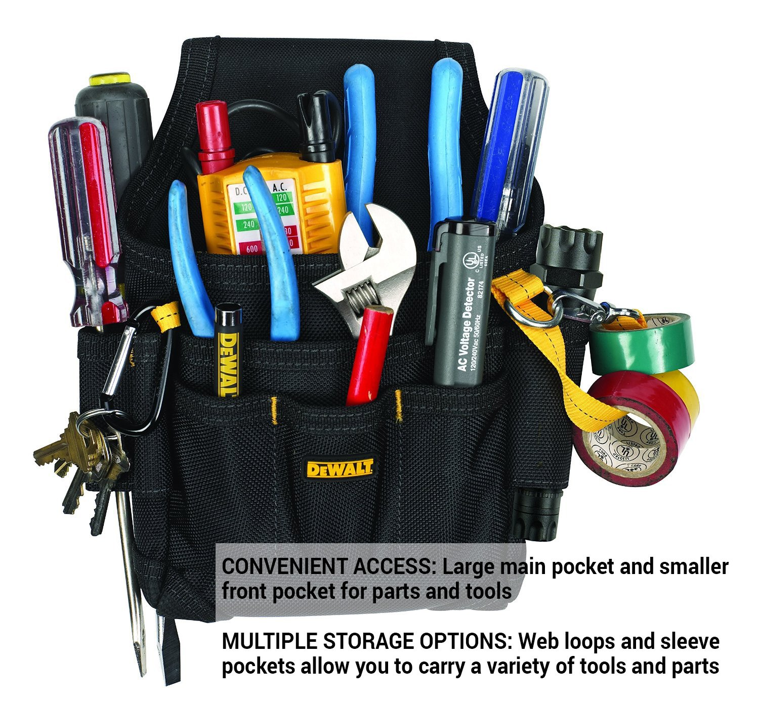 Dewalt Dg5103 Small Durable Maintenance And Electricians Pouch With Wiring A Light Fixture On Loop Pockets For Tools Flashlight Keys Tool Pouches