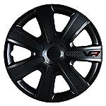 """Alpena 58260 Black 16"""" VR Carbon Wheel Cover Kit, (Pack of 4)"""