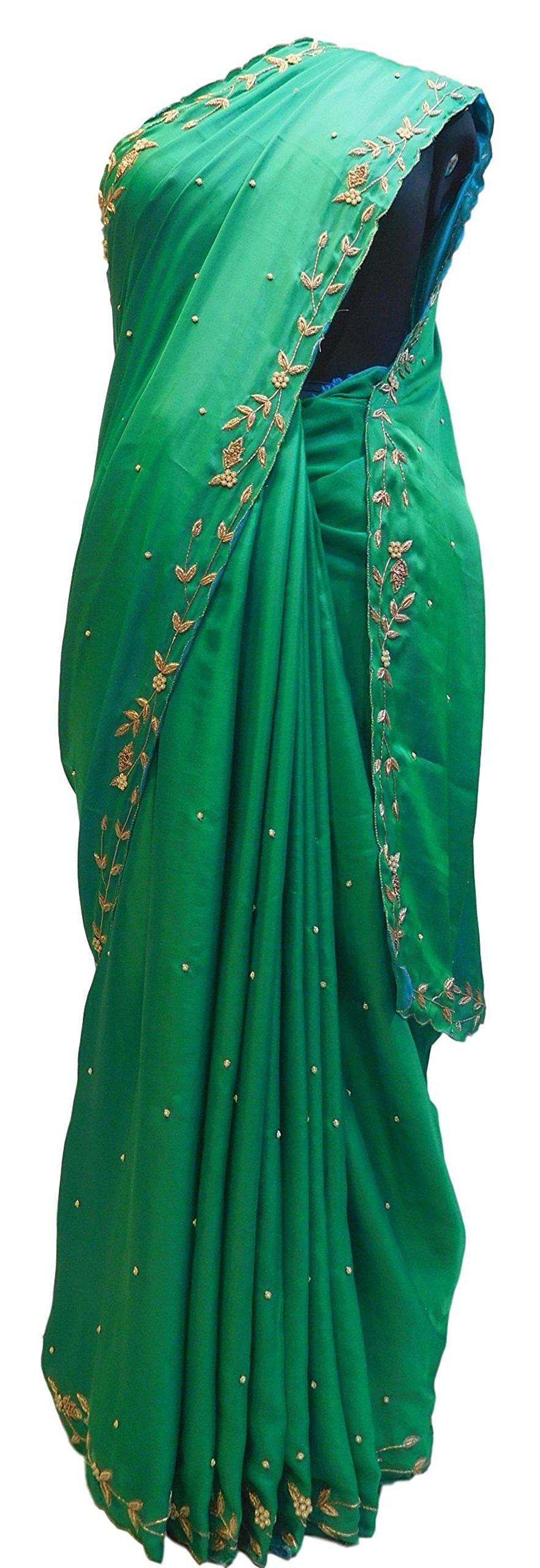 SMSAREE Green Designer Bridal PartyWear Silk Bullion Pearl Beads Stone Work Wedding Cutwork Border Saree Sari E017