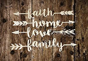 "Ebros 14.25"" Long Set Of 4 Metal Wall Arrows Spelling Family Love Home and Faith In Cursive Script Sign Hanging Mount Decor Plaque Western Southwest Rustic Decorative Art Sayings"