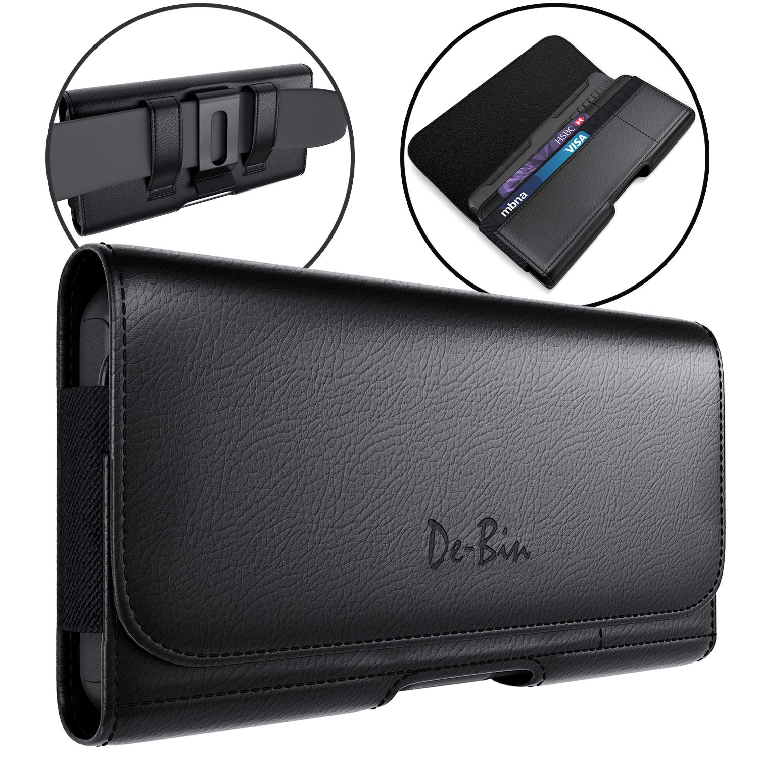 De-Bin Galaxy Note 8 9 10+ Plus Holster, Leather Belt Case with Clip Cell Phone Pouch Belt Holder for Samsung Galaxy Note 8/9 / 10+ Plus Built-in ID Card Holder (Fits Phone w/Other Case on) by De-Bin