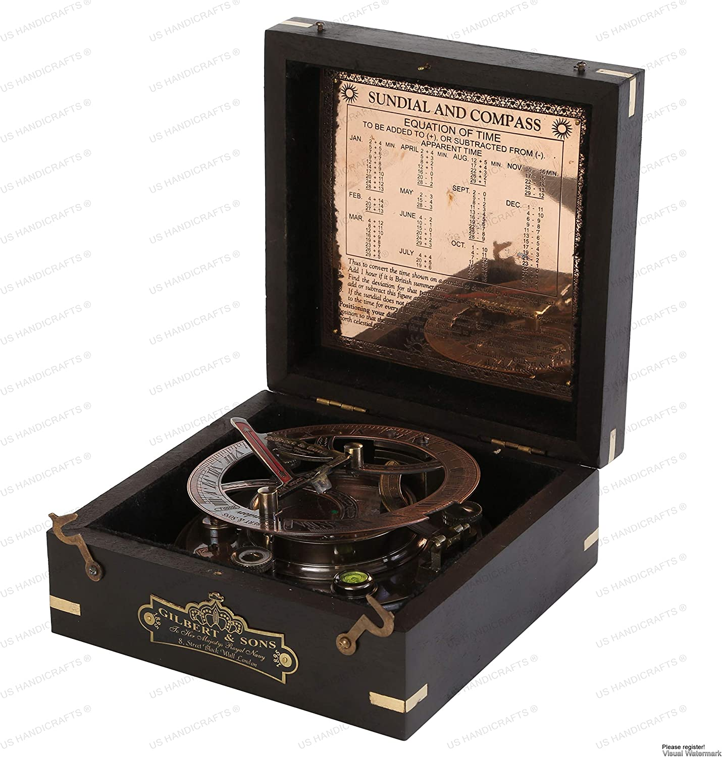 US HANDICRAFTS Ideas for Men Xmas 5 Inch Perfectly Calibrated Large Sundial Compass Black Wooden Case Top Grade Engraved Brass Sundial with Embossed Needle