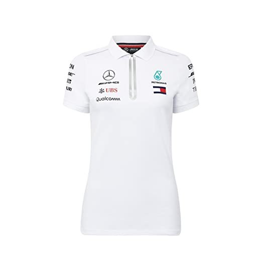 610adea28a3de Mercedes Benz Petronas AMG Formula 1 Women s 2018 Driver Team White Polo  Shirt (Small)