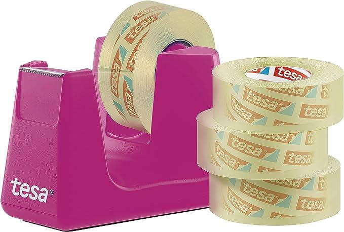 Tesa Easy Cut Smart 4 Rollen Tesafilm Transparent 33m 19mm Robuster Abroller Mit Anti Rutsch Funktion In Pink Und Transparentem Klebefilm Baumarkt