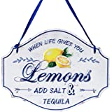 Funly mee Distressed Metal Tin Lemon Sign - When Life Gives You Lemons Add Salt -12.2×9.5(in)