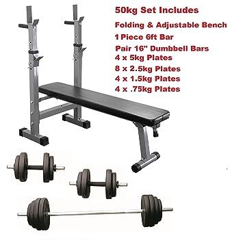 Banco de entrenamiento con pesas Set plegable y ajustable con mancuernas pesas juego completo: Amazon.es: Deportes y aire libre