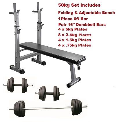 Banco de entrenamiento con pesas Set plegable y ajustable con mancuernas pesas juego completo