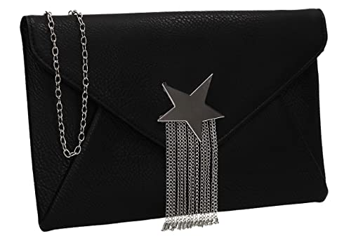 b8583c7b42 SWANKYSWANS Cameron Shiny Star Motif Envelope Clutch Bag Black ...