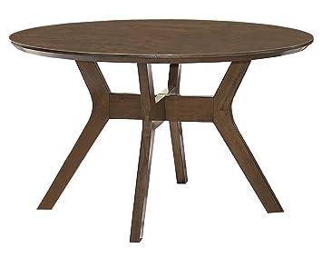 Amazon Com Homelegance Edam 52 Round Dining Table Oak Kitchen