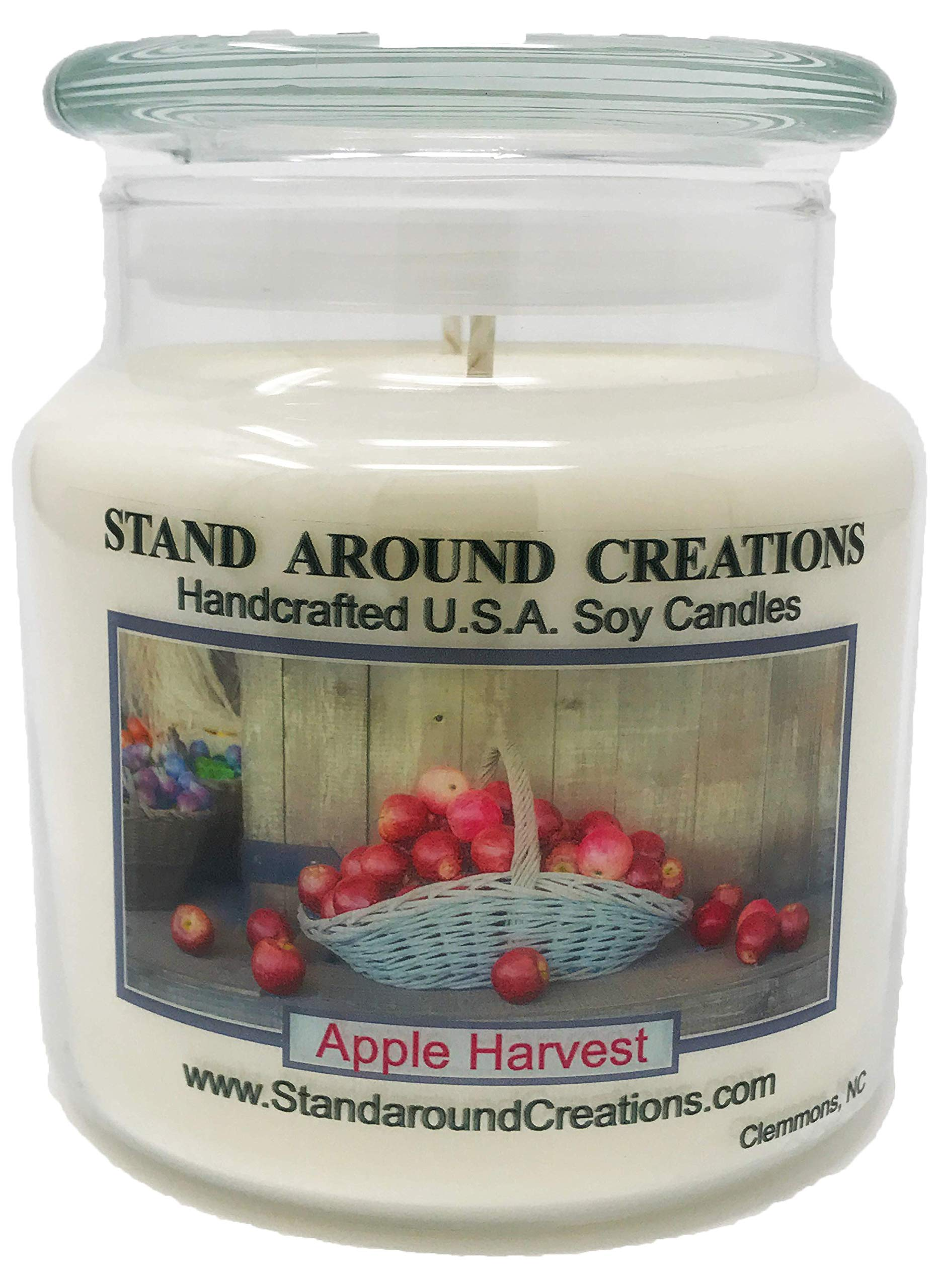 Premium 100% Soy Apothecary Candle - 16 oz Double Wicked - Apple Harvest: A ripe apple fragrance w/ just a touch of spice. Made w/ natural oils - cinnamon, nutmeg, clove, orange.