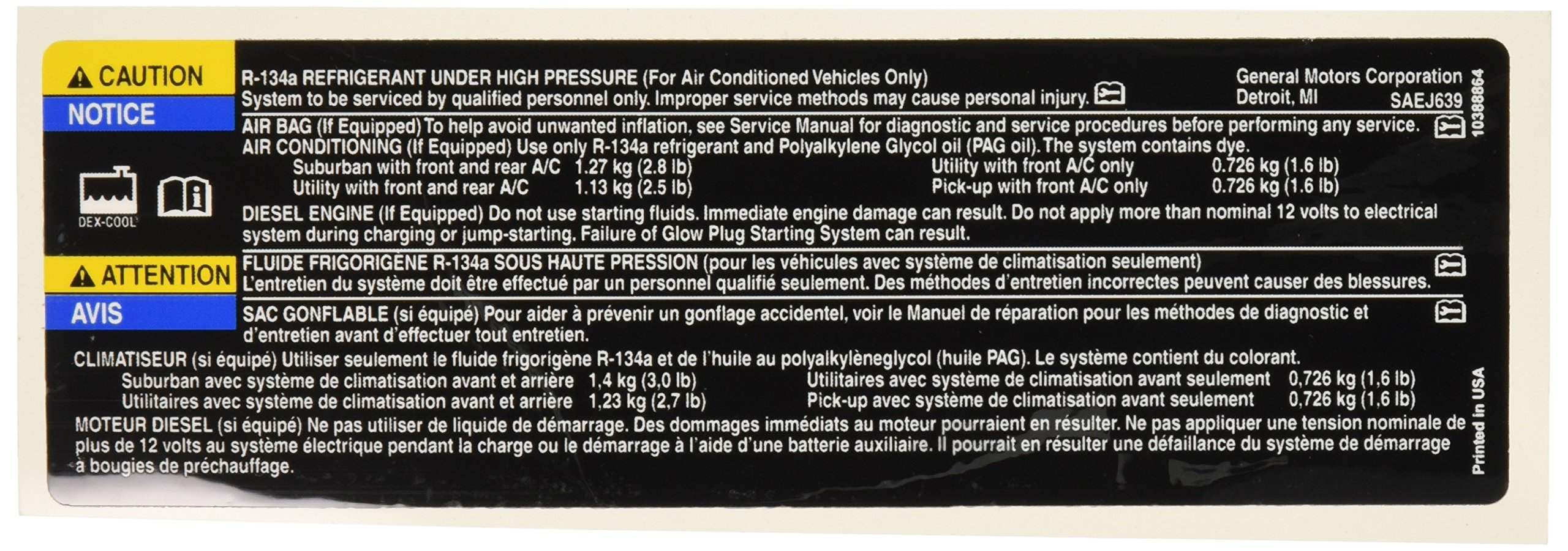 Genuine GM 10388864 Air Conditioning Refrigerant Warning Label