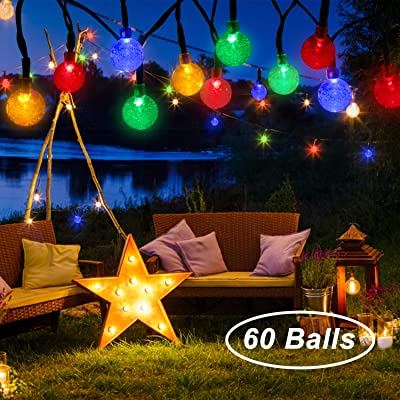 Beinhome Solar String Lights Outdoor 60 LED 36FT 8 Modes Waterproof Colorful Solar Globe String Lights for Garden, Patio, Yard, Party, Wedding Decoration