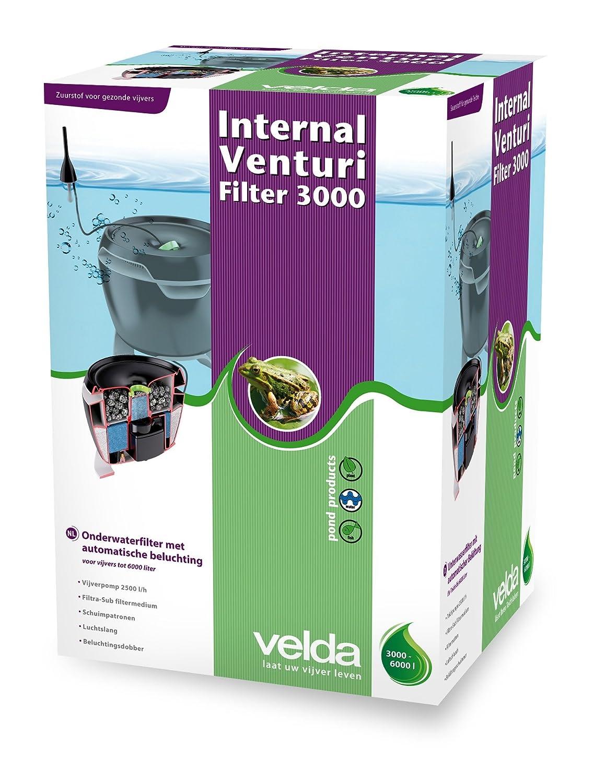 Velda 126461 Unterwasserfilter für Teiche bis 6000 Liter inkl. Pumpe, Filtermaterial, Belüftung, Internal Venturi