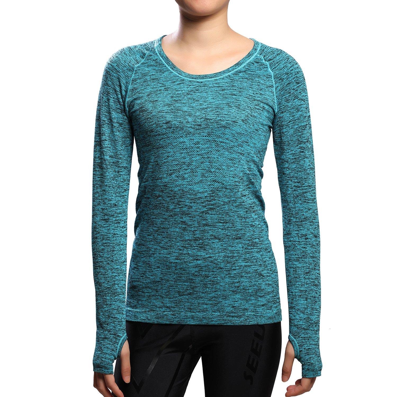 SEEU Women's Sports Shirts, Long Sleeve Running Tops Women - Nylon/Polyester - Comfort Fitness Top for Gym Training Yoga Pilates S/M/L KING MODERN TRADING CO.