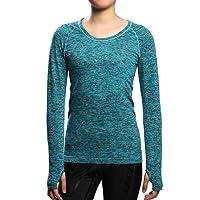 SEEU Women's Sports Shirts, Long Sleeve Running Tops Women - Nylon/Polyester - Comfort Fitness Top for Gym Training Yoga Pilates S/M/L