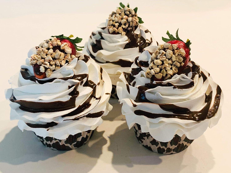Dezicakes Wild Strawberry Cupcakes Set of 3- Faux Fake Cupcakes Decoration Leopard Print New Home Deco Item