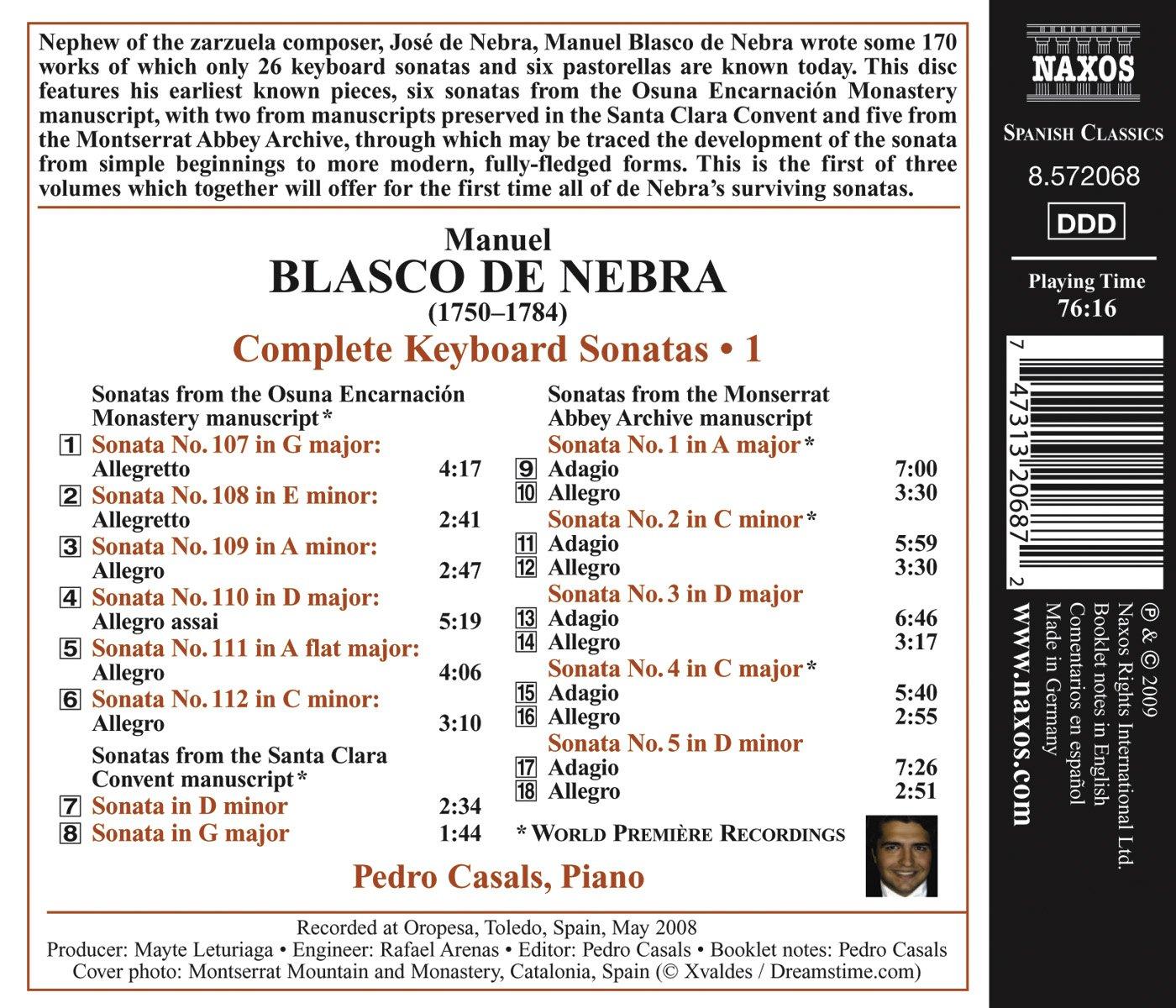 Sonatas Para Teclado: Pedro Casals, Manuel Blasco De Nebra: Amazon.es: Música