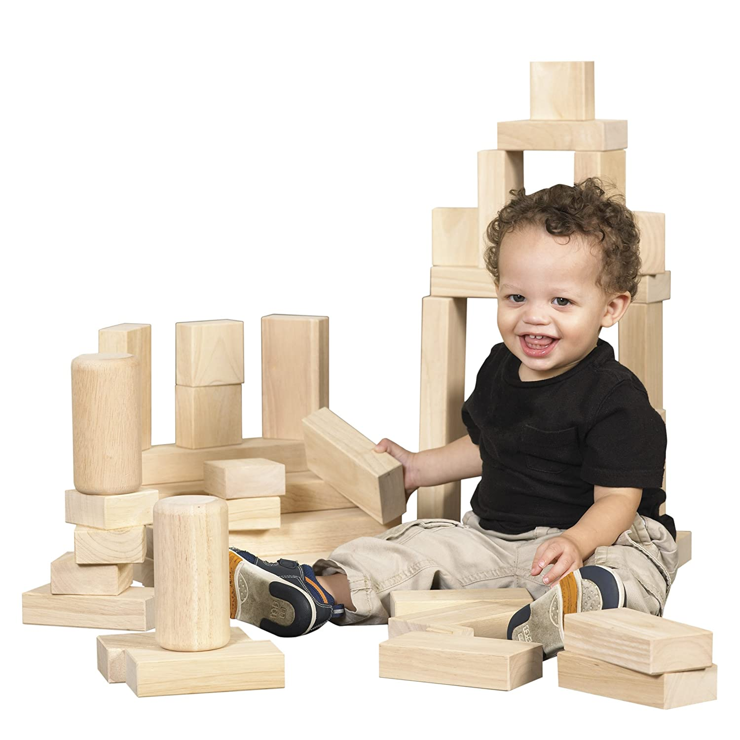 Amazon ECR4Kids Hardwood Building Blocks 154 Piece Set